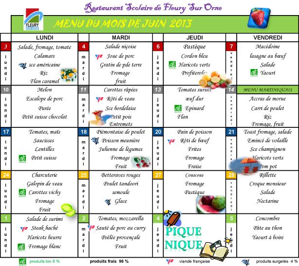 menu du mois de Juin 2013