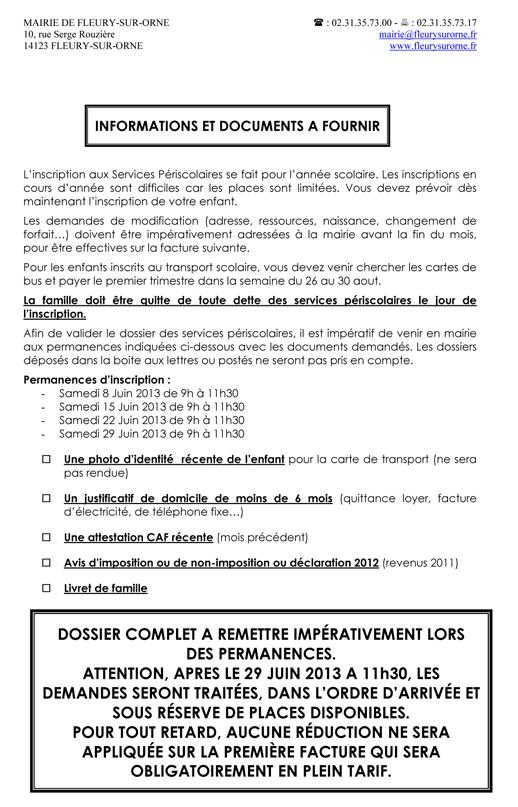 LIVRET PÉRISCOLAIRE DES ÉCOLES DE FLEURY-SUR-ORNE