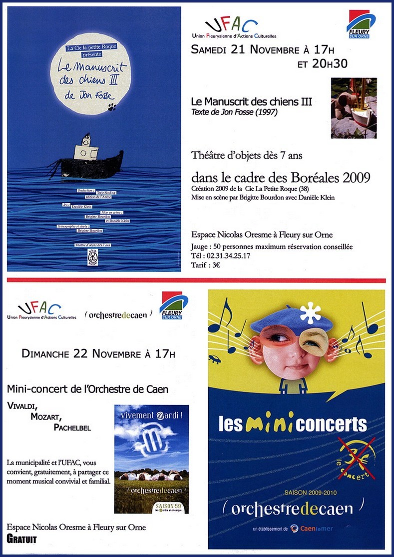 Théâtre & Concert à Fleury 21 et 22 novembre 2009