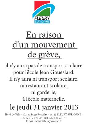 Grève le jeudi 31 janvier 2013