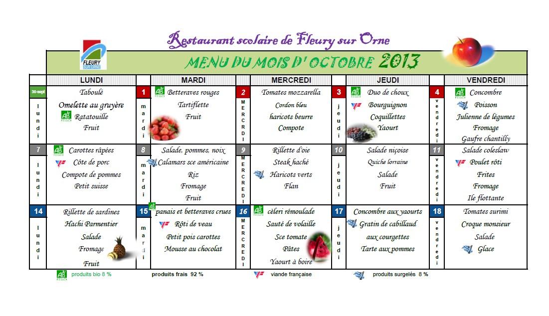 Menu du restaurant scolaire du mois d'octobre 2013