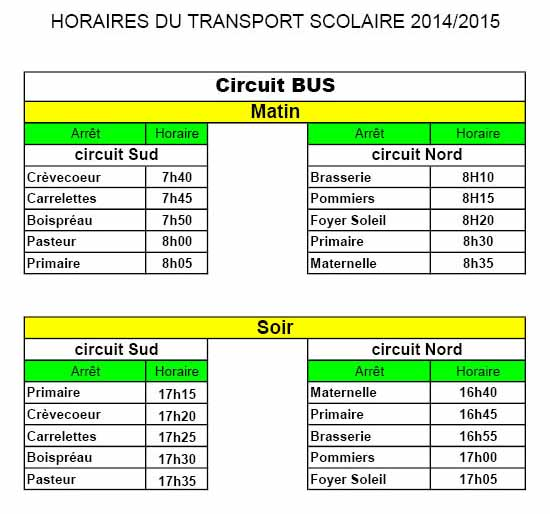 Horaires Transport 2014-2015