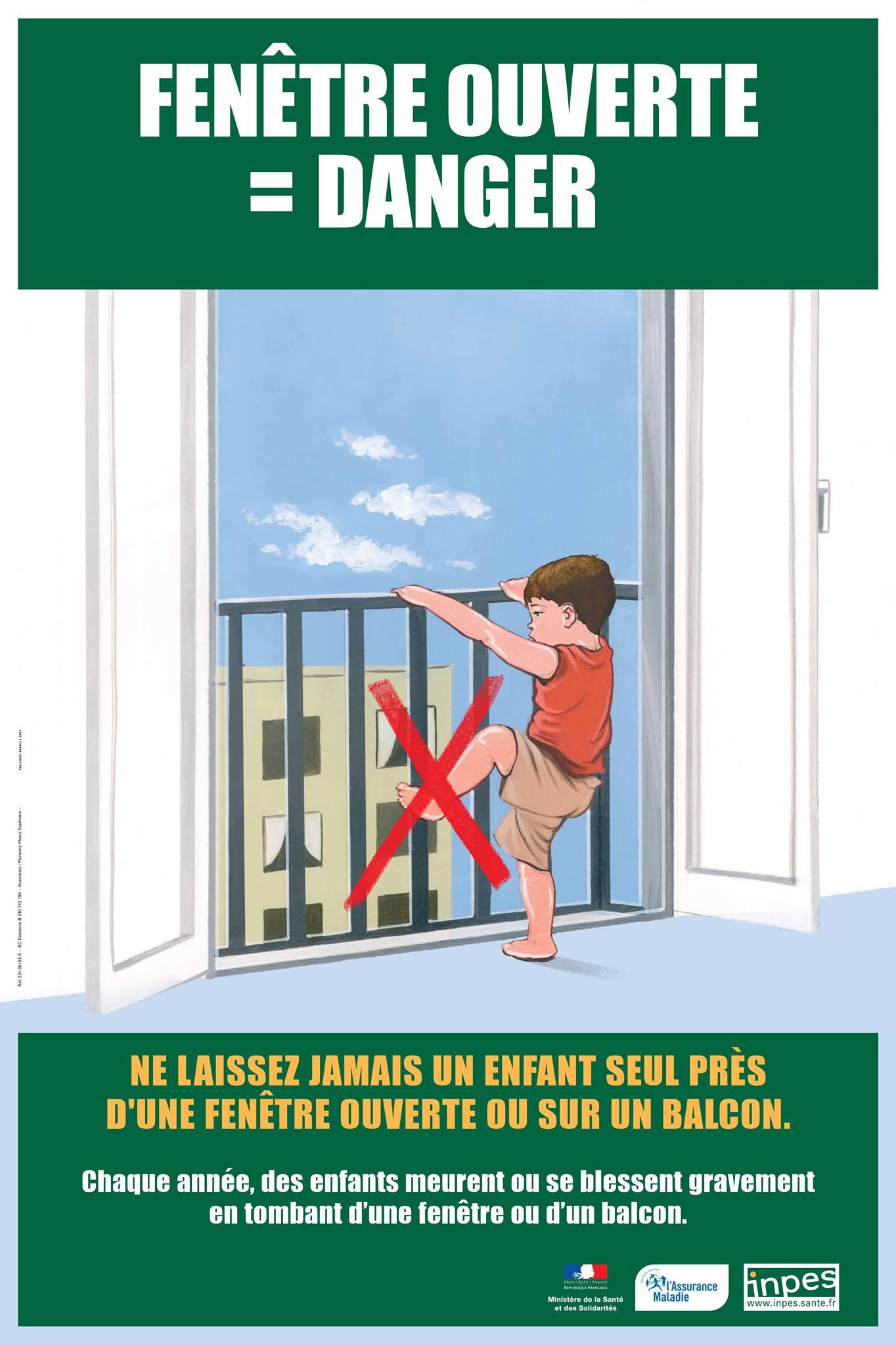 Fenêtre ouverte danger