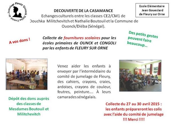 Les élèves de l'école élémentaire de Fleury se mobilisent pour Ouonck