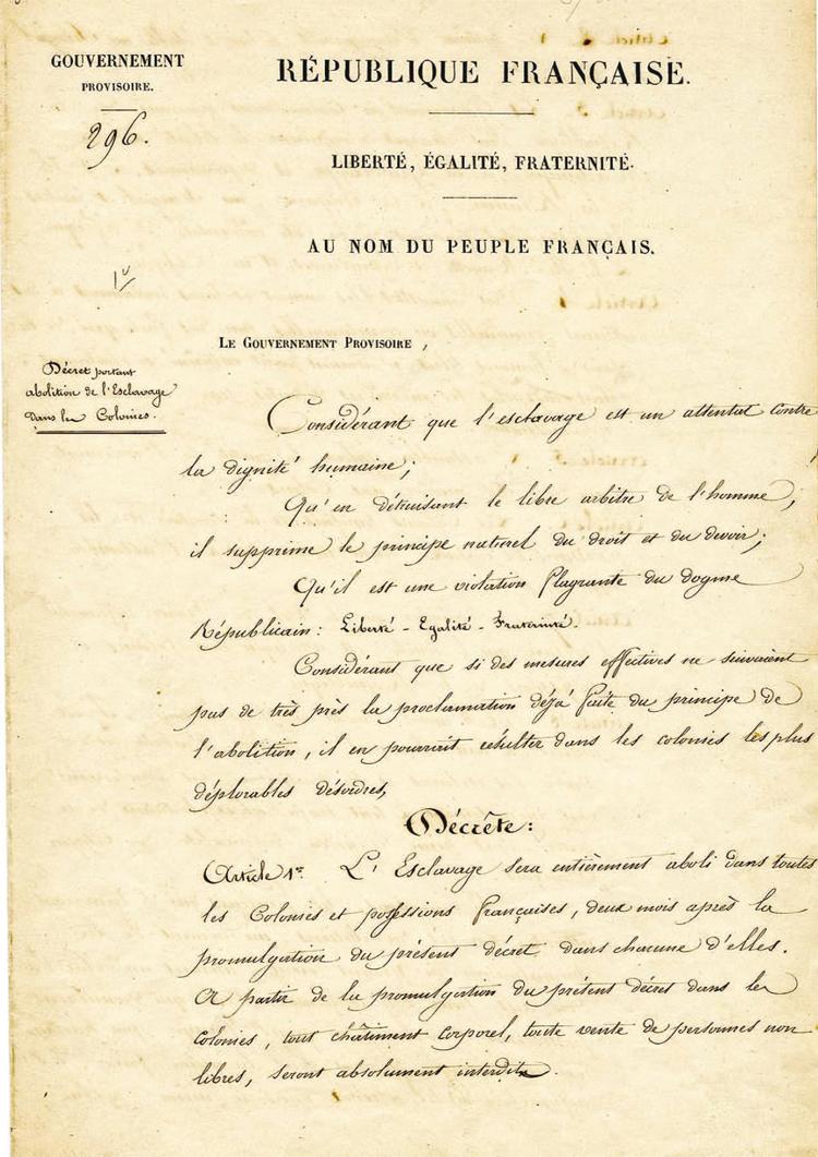 Décret du 27 avril 1848 abolissant l'esclavage